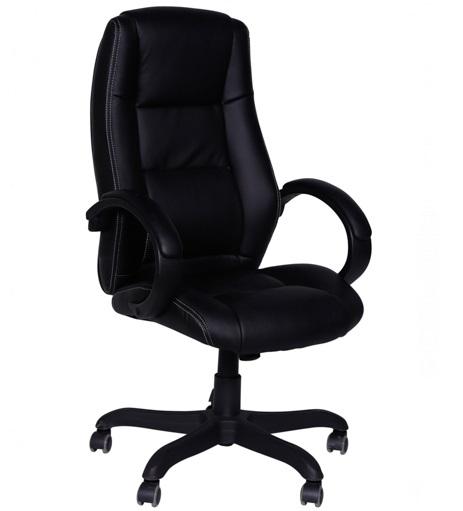 Cadeira presidente estofada office charles eames em couro ecológico 3305a - preto