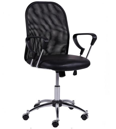 Cadeira diretor office em tela mesh e couro ecológico 3306b - preto