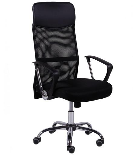 Cadeira presidente office em tela mesh e couro ecológico 3307a - preto