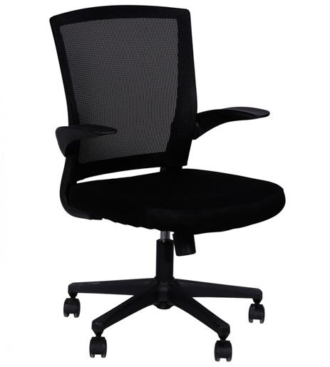 Cadeira diretor office em tela e mesh base nylon braço reclinável 3314b - preto